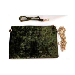 hello 3 AM Bags - Handbag Purse Olive Green Sequin Red Rose Clutch